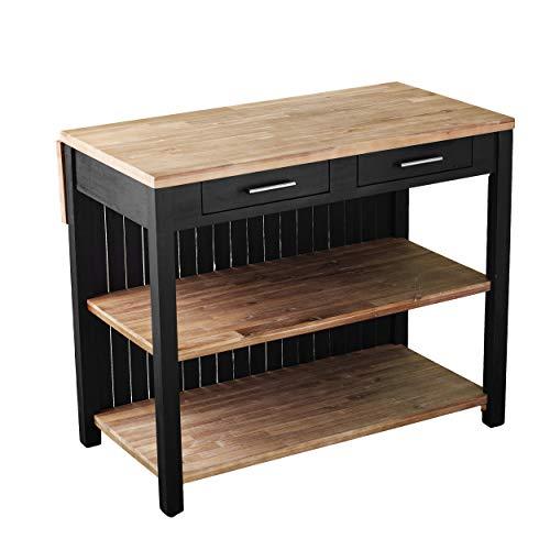 SEI Furniture Berinsly Expandable Freestanding Kitchen Island, Black, Natural