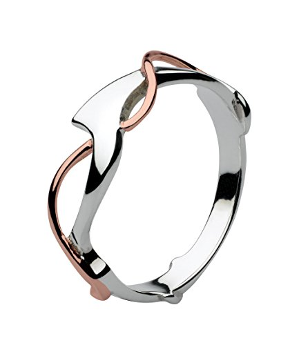 Dew Sterling Silver and Rose Gold Plate Art Nouveau Ring - Size - L