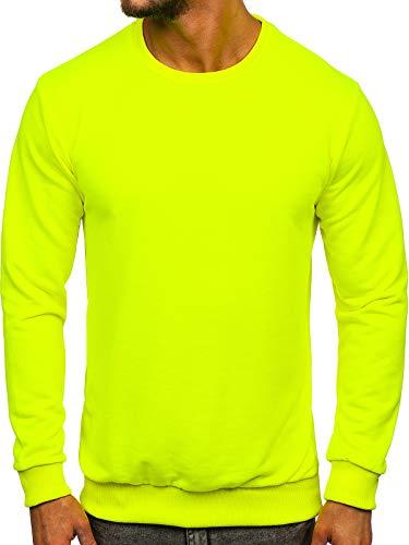 BOLF Herren Sweatshirt Pullover Sweater Pulli ohne Kapuze Langarmshirt Rundhalsausschnitt Farbvarianten Crew Neck Longsleeve Classic Fitness Basic Sport 171715 Gelb-Neon L [1A11]