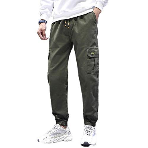 brandless Pantalon pour Hommes lâche Multi-Poches Couleur Unie Cordon de Serrage Taille élastique Cravate Slim Slim Fit Workwear