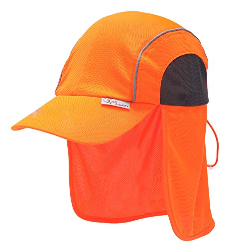 AYKRM Orange Warnschutz arbeits legionärskappe mit Nackenschutz (ORANGE, 59CM)
