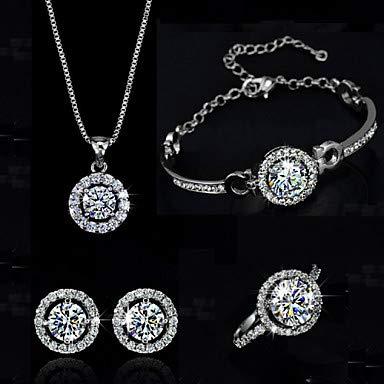 Synthetischer Diamant Moissanite Schmuck Set Halskette Ohrringe Solitaire Round Cut Halo Crystal Zirconia Silber/Golden for Wedding Party Geburtstag/Ring, Silber