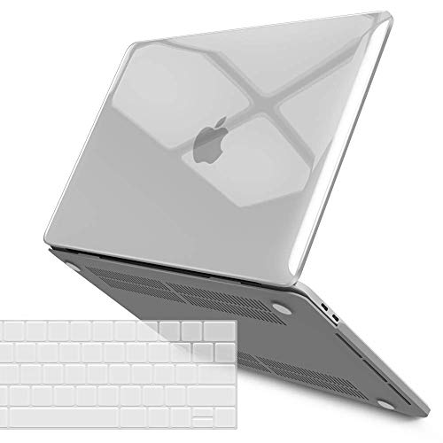 IBENZER MacBook Pro 15 Inch Case 2019 2018 2017 2016 A1990 A1707, Plastic Hard Shell Case with Keyboard Cover for Apple Mac Pro 15 Touch Bar, CrystalClear, T15CYCL+1B