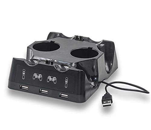 PS4 PS Move Controller Charger Station,Hdiwousp 4-in-1 Fast Desk Charger Dock for PS Move Motion and PS4 Controller Playstation 4 PS4 Slim PS4 Pro with Dual USB Ports and LED Indicator, Black