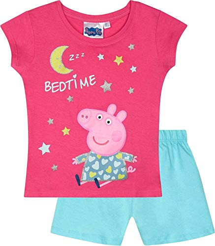 Peppa Wutz Schlafanzug Shorty Mädchen Kurz Peppa Pig (Fuchsia, 128)