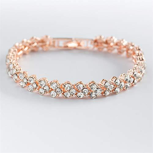 Pulseras de color plata, brazalete de color oro rosa, regalo para dama, cadena de metal circón, serpiente, amor y diamantes de imitación, pulsera elegante (Color del metal: oro rosa)