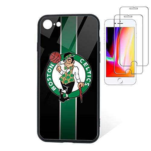 "Phone Case for New iPhone SE 2020 Case/iPhone 8 Case/iPhone 7 Case [with 2Pcs Tempered Glass Screen Protector]- N B A Case 4.7"" Tempered Glass Back Cover & TPU Soft Frame Phone Case -Celtics"