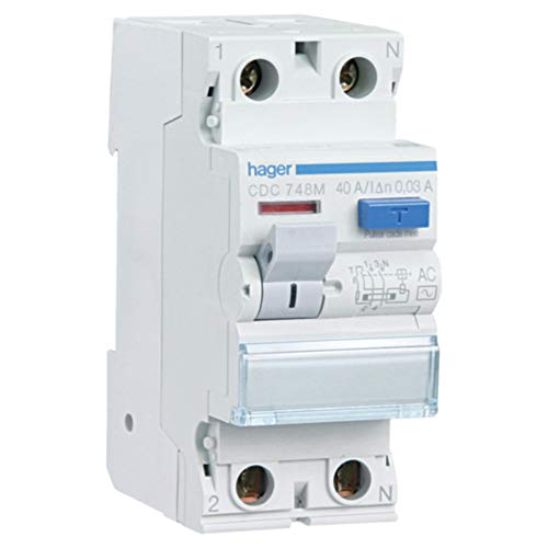 Hager CDC728M Interruptor Diferencial Tipo AC, 2P, 25A, 30mA