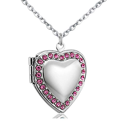 "POWER WING Pink CZ Love Heart Locket Necklace That Holds Pictures Photo Lockets,18"" Synthetic October Birthstone"