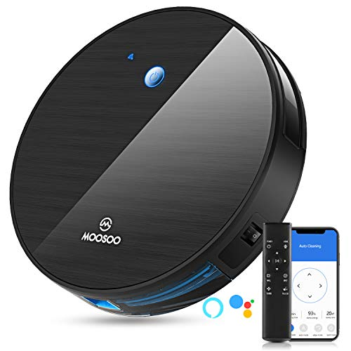 MOOSOO Robot Vacuum, Super-Thin 1800Pa Strong Suction, Quiet, Self-Charging Robotic Vacuum Cleaner, Works with Alexa or Google Assistant, Ideal for Pet Hair, Carpets, Hard Floors, MT-501