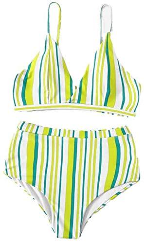 Women's split zwembroek, hoge taille gestreepte bikini set, Maat: M (Size : S)
