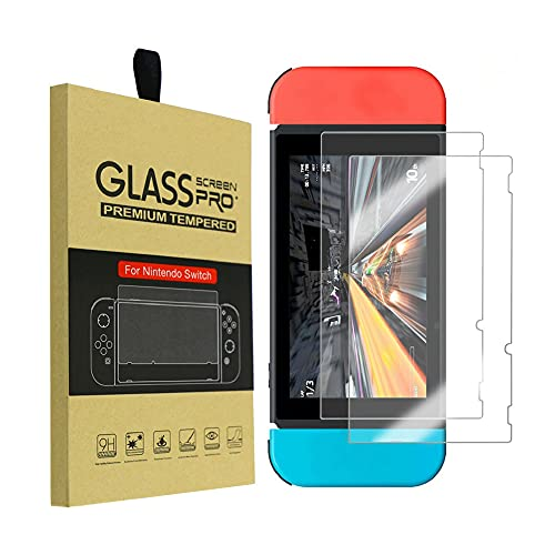 Shentesel 2Pcs 9H Tempered Glass Screen Protector Guard Film Cover for Nintendo Switch