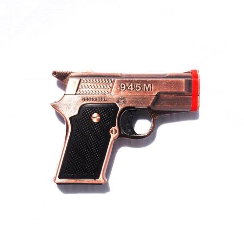 1x Brown Pistol Twin Torch Lighter Refillable Cigar Cigarette Lighter