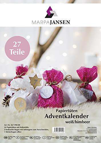 MarpaJansen Adventskalender Set van boterbroodzakken - incl. 36 papieren hangers om uit te knippen & 24 stickers in zilver - wit, framboos met witte stippen, bruin, grijs & zilver