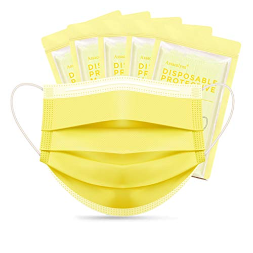 Assacalynn Disposable Face Masks Yellow 50 pcs, 3 Layer Disposable Masks, Breathable Masks for Men Women