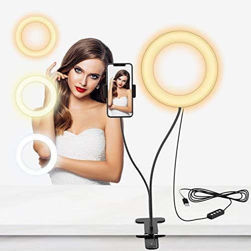Selvim Anillo de Luz LED, Aro de Luz Fotográfica con Soporte para Móviles de Brazo Flexible a 360°, 3 Modos de Luz y 10 Brillos, 6' con 64 Bombillas para Selfie, Maquillaje, TIK Tok, Youtube