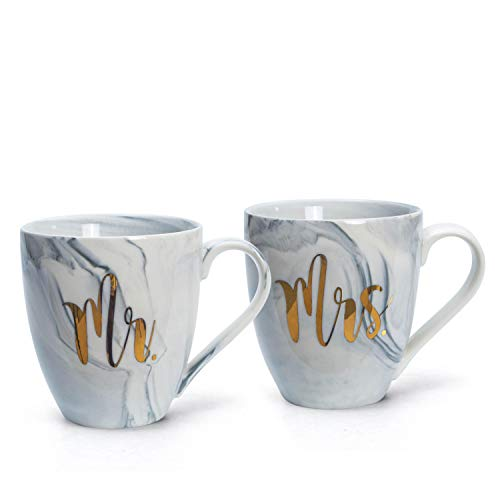 el & groove XXL Juego de Tazas Mister & Misses en Porcelana marmoleada Gris | Mr. & Mrs. | Jumbo Cup 500ml | Coffee Cup/Tea Cup White Large | Idea de Regalo de Boda