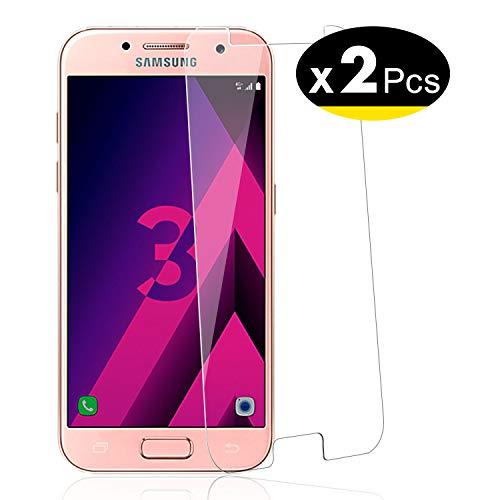 NEW'C PanzerglasFolie Schutzfolie für Samsung Galaxy A3 2017, [2 Stück] Frei von Kratzern Fingabdrücken und Öl, 9H Härte, HD Displayschutzfolie, Displayschutzfolie Samsung A3 2017