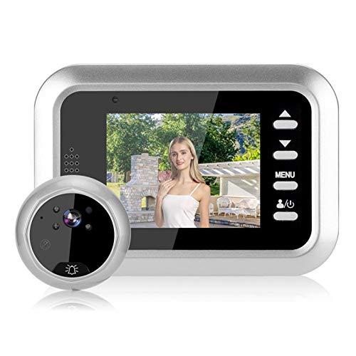 Visor de puerta inteligente de 2,4 pulgadas, visor de mirilla TFT HD Cámara de puerta con timbre de ojo de gato Cámara de vídeo de seguridad, visión nocturna / toma de fotografías / grabación de vídeo