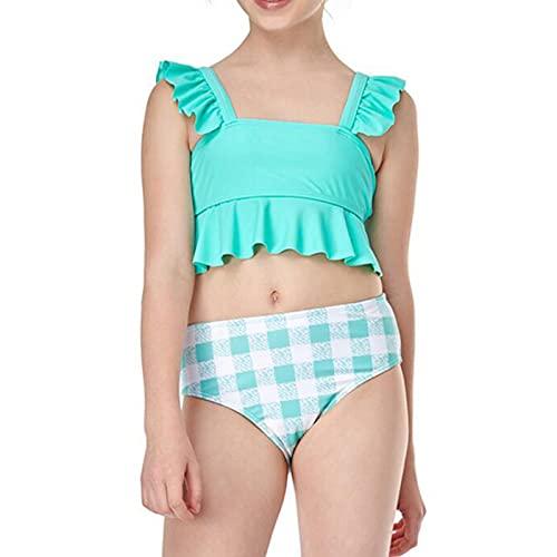 JYJD Bikini para Niñas, Traje de Baño con Volantes, Cintura Alta, Alta Elasticidad, Adecuado para Nadar, Playa