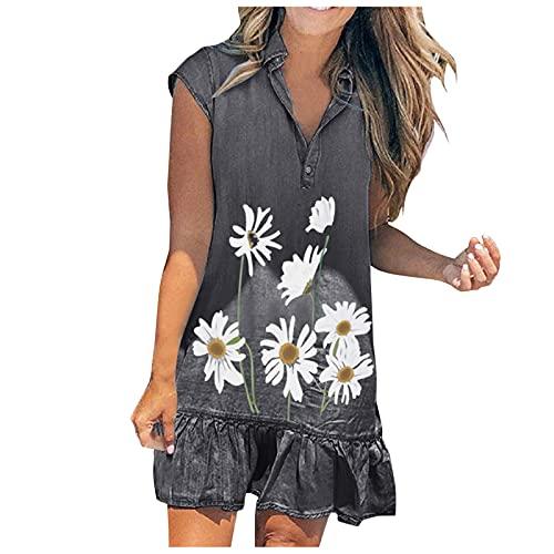 Dasongff Vestido de mujer de manga corta, minivestido, bohemio, floral, vestido de verano, informal, cuello en V, vestido túnica, estampado de diente de león, vestido suelto para la playa.