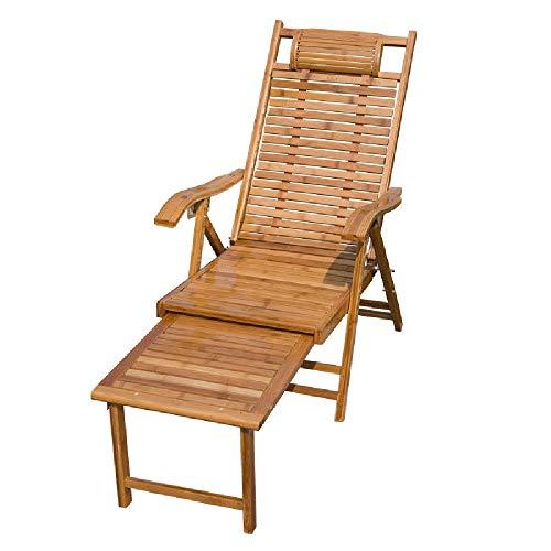 HAIYU- Sedia Sdraio in bambù Poltrone Reclinabile da Giardino Poltrone Salotto per Terrazza con Poggiapiedi Estraibile Poggiatesta Curvo, Cuscino Disponibile (Color : Chair)