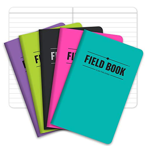 Field Notebook/Pocket Journal - 3.5'x5.5' - Assorted Colors - Lined Memo Book - Pack of 5