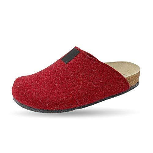 Weeger Bio-Hausschuh-Pantoffel Tweed rot Gr. 36