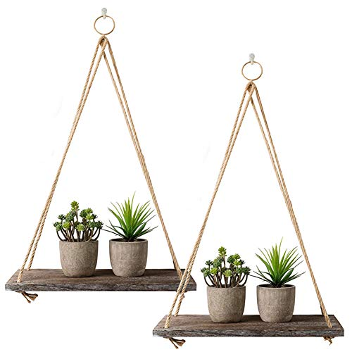 Rustic Shelf 2 Packs Wooden Floating Shelves with String Rope Hanging Floating Shelves Rustic Distressed Wood Hanging Shelves Wood Wall Decor Swing Rope Floating Shelf with Hooks for Living Room