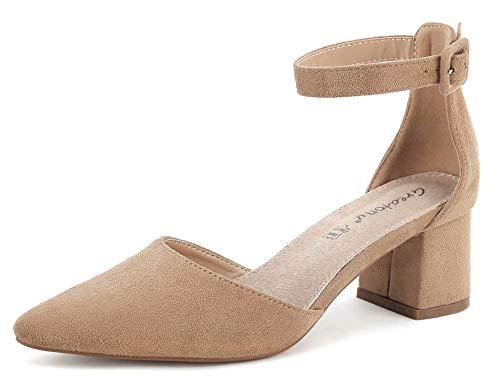 Greatonu Damen Pumps Knöchelriemchen Blockabsatz Pointed Toe Sandalen Beige Größe 41EU