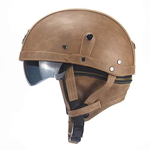 Helmet Warrior, Motorradhalbhelm mit Sonnenschutz für Männer und Frauen, verstellbare Größe, halbes Gesicht, für Fahrrad, Cruiser, Chopper, Moped, Scooter,Braun