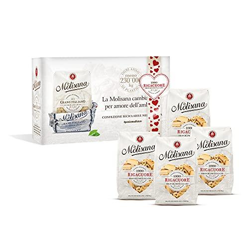 La Molisana - Kit Rigacuore - Composto Da Confezioni Di Pasta In Carta Riciclabile, Formato 500 G - Pasta Da Solo Grano Italiano, 4 Unità