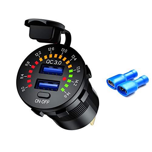 Cargador de Coche de 12 V de Carga Rápida QC3.0, Cargador USB Dual para Coche con LED Pantalla a Color para Coches,Motocicletas y Barcos