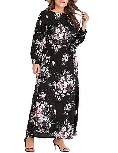 Mujer Vestido Arabe Algodón Jalabiya - Abaya Islamica Maxi Manga Larga Kaftan Señoras Musulmanes Estampado Floral de Elegantes (XXL)