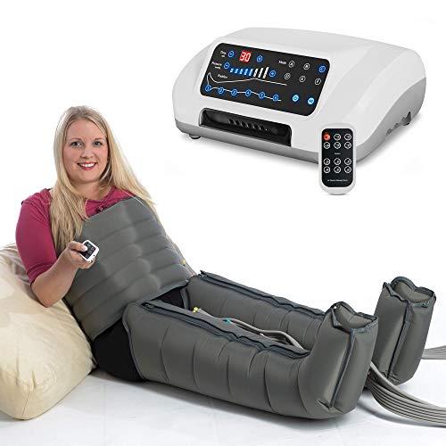 Vein Angel 6 Premium Equipo de Presoterapia Profesional con botas y cinta abdominal, 6 cámaras de aire desactivables, presión y tiempo fácilmente configurables, 6 programas