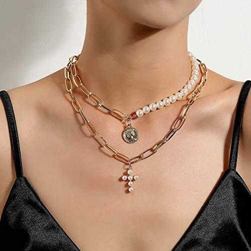 Zoestar Collar de perlas punk, con colgante de cruz dorada y cadena para mujeres y niñas
