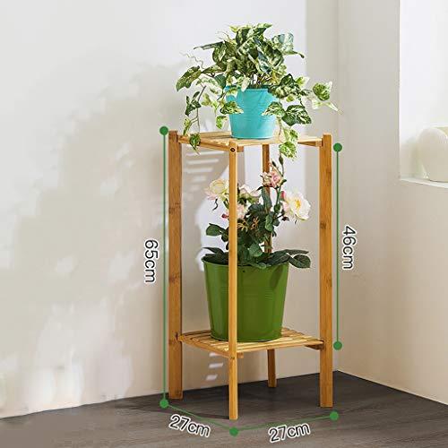 Porte-fleurs Bamboo Landing Multi-layer Rack pour succulentes intérieur Support pour balcon (Couleur : A, taille : 27 * 27 * 65cm)