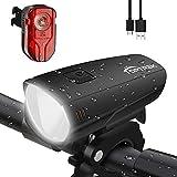 toptrek Fahrradlicht Set OSRAM LED Fahrradbeleuchtung USB Aufladbare Akku Fahrradlampe Vorne & Hinten IPX5 Wasserdicht Fahrrad Lichter mit Rücklicht (LF16 Li-Ion)