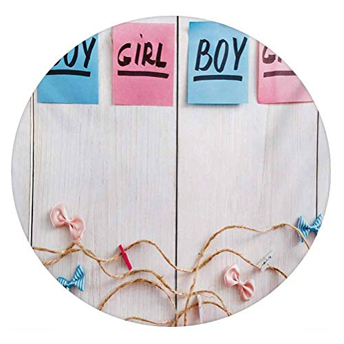 LCGGDB Gender Reveal 3D Decorative Window Clings,Colorful Stickers Garland and Ribbons Greetings on Wooden Seem Background Static Cling Window Decal for Home Office,Round 8'x8',Multicolor
