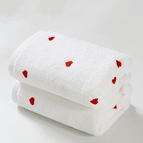 CLX Badetuch-Reinigungs-Set aus 2 Zimmer Stickerei Heart Shaped Gant de Toilette für weiche Haut und weicher Baumwolle Thick Gant de Toilette Reisen,A