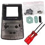 Totento Cubierta Completa de la Carcasa de la Carcasa Piezas de Repuesto con Destornillador para Nintendo Gameboy Color, GBC (Transparente Negro)
