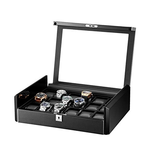 ZNND Caja Reloj 18 Ranuras para Hombre Ver Vitrina Organizador Caja Reloj Lujo Madera con Ventana Vidrio Grande Interior Cuero PU (Color : Carbon Fiber)