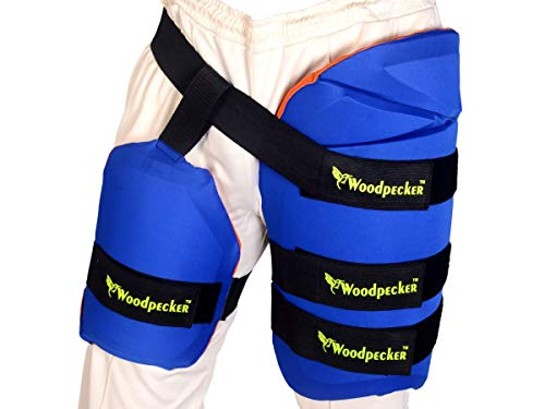 Woodpecker Thigh Guard for Cricket (for Left Hand) (Blue & Orange, Regular)