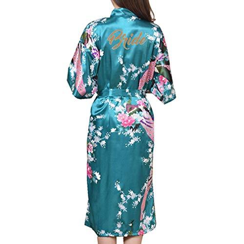 Kunfang Mujeres Flor Kimono Albornoz Elegante Señora SPA