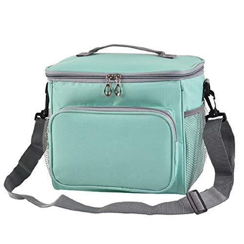 JenK Cing Isolierte Lunchpaket tragbare Reise-Picknick-Lunch-Box für Frauen Männer Thermal Cooler Lunch Bag Pouch Picknick Aufbewahrungsbox im Freien Brotdosen Baumwolle und Leinen(Grün)