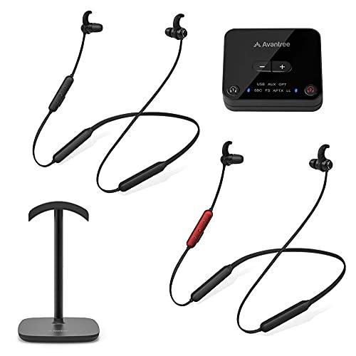 Avantree HT41866 Dual Bluetooth 5.0 Kabellose Kopfhörer für Fernseher mit Sender und Ständer, 20 Stunden Wireless Funkkopfhörer TV, Personalisierte Lautstärkeregelung, Plug n Play, Keine Verzögerung