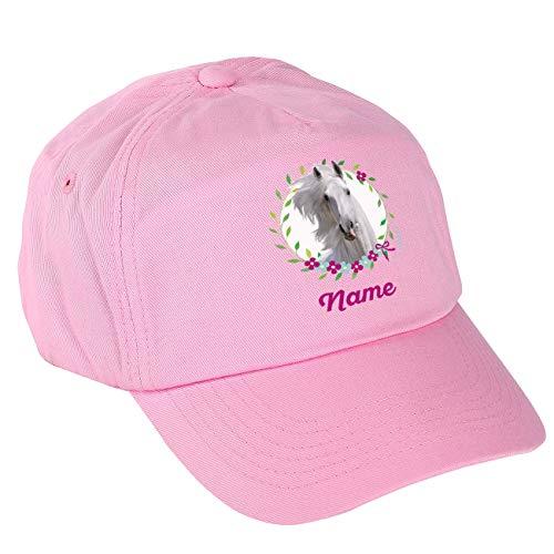 Striefchen® Rosa Basecap für Mädchen mit eigenem Namen und wunderschönen Pferd Motiv