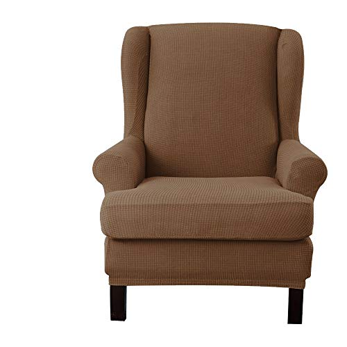 E EBETA Jacquard Sesselbezug, Sessel-Überwürfe Ohrensessel Überzug Bezug Sesselhusse Elastisch Stretch Husse für Ohrensessel (Kaffee)