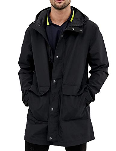 URRU Mens Jacket Lightweight Windproof Raincoat Mens Waterproof with Hood Long for Any Outdoor Activities Black M