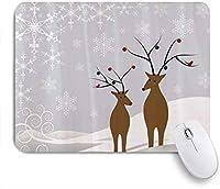NIESIKKLAマウスパッド 冬のサンタの雪の結晶を持つノエルタイムユールのかわいいトナカイ ゲーミング オフィス最適 高級感 おしゃれ 防水 耐久性が良い 滑り止めゴム底 ゲーミングなど適用 用ノートブックコンピュータマウスマット